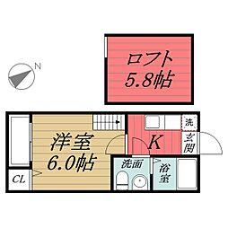 千葉県千葉市中央区本町1丁目の賃貸アパートの間取り