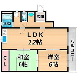 Osaka Metro谷町線 太子橋今市駅 徒歩2分の賃貸マンション 4階2LDKの間取り