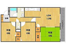 ローズマンション[4階]の間取り