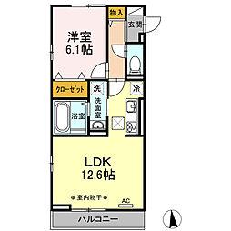 Lupinus A棟 1階1LDKの間取り