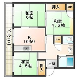 明舞団地3号棟[3階]の間取り