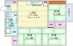 JR仙山線 東北福祉大前駅 徒歩10分の賃貸マンション 4階3LDKの間取り