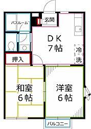 東京都府中市北山町4丁目の賃貸アパートの間取り