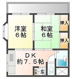 サンパレス21東園田III[4階]の間取り