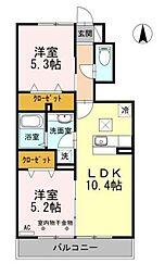 東武伊勢崎線 竹ノ塚駅 徒歩17分の賃貸アパート 1階2LDKの間取り