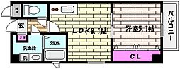 兵庫県神戸市灘区中原通2丁目の賃貸マンションの間取り