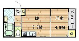 シティコート徳庵 3階1DKの間取り