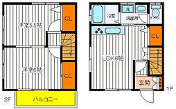 [テラスハウス] 東京都福生市大字熊川 の賃貸【東京都 / 福生市】の間取り