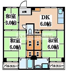 ビレッジハウス伏屋9号棟[4階]の間取り