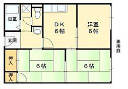 コーポ美園D[1階]の間取り