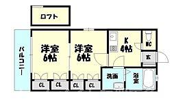 福岡県糟屋郡粕屋町長者原東4の賃貸アパートの間取り