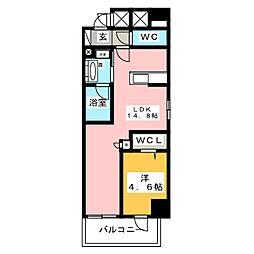 ベルオレイル 6階1LDKの間取り