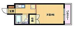 おおさか東線 城北公園通駅 徒歩3分の賃貸マンション 3階1Kの間取り