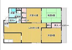 広島電鉄宮島線 広電五日市駅 徒歩12分の賃貸マンション 3階3LDKの間取り