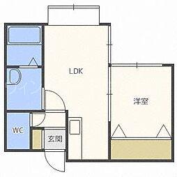 北海道札幌市豊平区美園二条2丁目の賃貸マンションの間取り