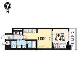 リーガル京都五条大宮702 7階1LDKの間取り