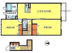 大阪府茨木市北春日丘4丁目の賃貸アパートの間取り
