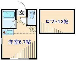 東急東横線 菊名駅 徒歩8分の賃貸アパート 1階ワンルームの間取り