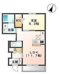 袖ケ浦市奈良輪2621番地新築アパート[102号室]の間取り