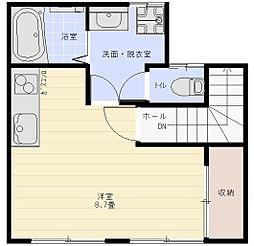 エスポアール富岡 2階ワンルームの間取り
