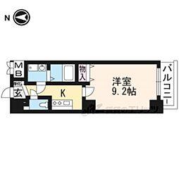 京都市営烏丸線 京都駅 徒歩25分の賃貸マンション 10階1Kの間取り