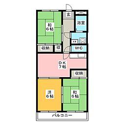 ファミール那珂[6階]の間取り