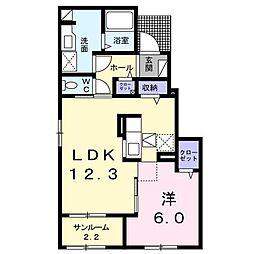 [大東建託]グランヴィラーシュII(三戸町)[1階]の間取り