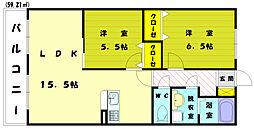 ロジュマン古賀3[1階]の間取り