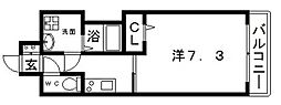 JR大阪環状線 寺田町駅 徒歩4分の賃貸マンション 2階1Kの間取り