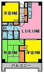神奈川県厚木市戸室1丁目の賃貸マンションの間取り