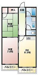 愛知県名古屋市名東区扇町1丁目の賃貸アパートの間取り