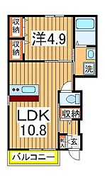 クレール松葉III[1階]の間取り