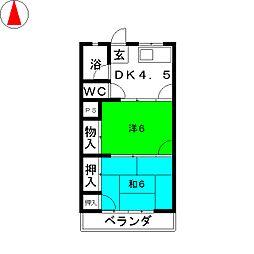 川奈ハイツ[3階]の間取り