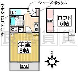 愛知県名古屋市千種区今池南の賃貸アパートの間取り