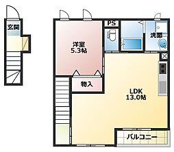 JR山陽本線 土山駅 バス12分 国安北下車 徒歩8分の賃貸アパート 2階1LDKの間取り