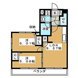 レジディア京都駅前[6階]の間取り