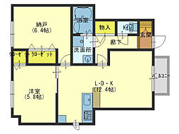 大阪府大阪市生野区巽東3丁目の賃貸アパートの間取り