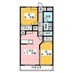 ラウンドリーフ桜台[1階]の間取り