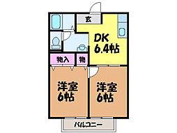愛媛県松山市余戸中6丁目の賃貸アパートの間取り