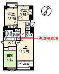 ヴィラシオン古江東[2階]の間取り