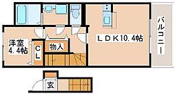 JR山陽本線 明石駅 バス15分 漆山下車 徒歩3分の賃貸アパート 2階1LDKの間取り