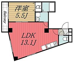 JR内房線 本千葉駅 徒歩5分の賃貸マンション 5階1LDKの間取り