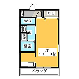 レジェンド横田 3階ワンルームの間取り