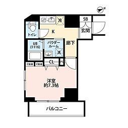 東京メトロ東西線 門前仲町駅 徒歩5分の賃貸マンション 8階1Kの間取り