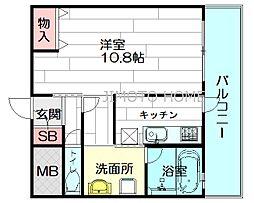 ハーヴェスタ江坂[6階]の間取り