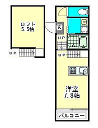 愛知県名古屋市昭和区出口町2丁目の賃貸アパートの間取り