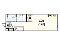 広島電鉄6系統 江波駅 徒歩14分の賃貸アパート 2階ワンルームの間取り