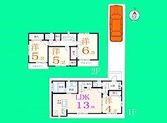 I号地の建物参考プランです。全室が南向きの陽当り良好な4LDKの間取り。
