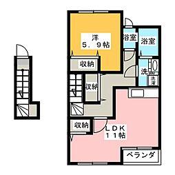愛知県北名古屋市石橋角畑丁目の賃貸アパートの間取り