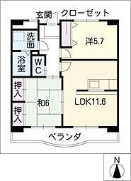 プレステージS・KOZAKAI 1階2LDKの間取り